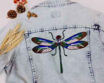 dragonfly patch - iron on patch-large patch-patch for jacket-colorful-gorgeous-embroidery