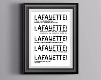 Hamilton Musical inspired - Lafayette quote, Typography Print - Poster, Hamilton