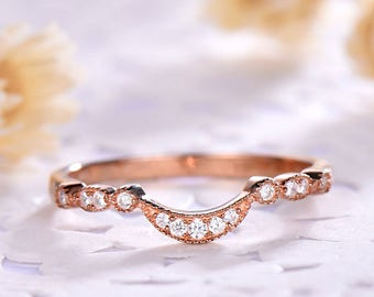 Curved CZ Diamond Wedding Ring 14k 18k Rose Gold 925 Sterling Silver U Shape Stacking Band Engagement Antique Matching Band for Her Eternity