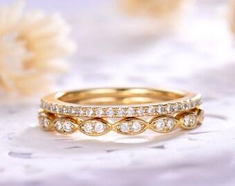 CZ Cubic Zirconia Diamond Wedding Ring Set 14k 18k Yellow Gold 925 Sterling Silver Half Eternity Art Deco Bridal Women Anniversary Gift 2pcs
