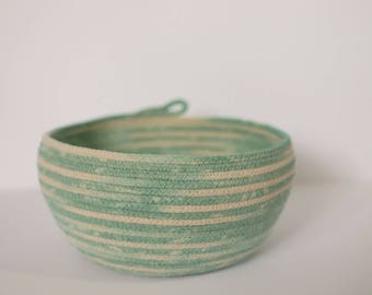 Rope Basket or Bowl in Variegated Sea Glass - hand dyed - for storage and display