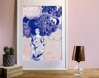 "Flower woman Artprint-""with the head in the sky and flowers on my Dress"""