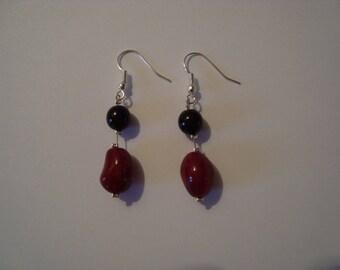 Fancy Red and black 3 earrings