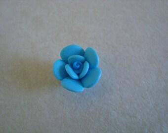 Blue flower polymer clay bead