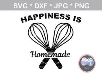 Happiness is Homemade wisk baking svg dxf png jpg digital cut file for cutting machines personal commercial Silhouette Cameo Cricut