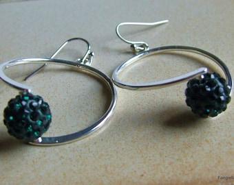 Hoop earrings green Crystal beads
