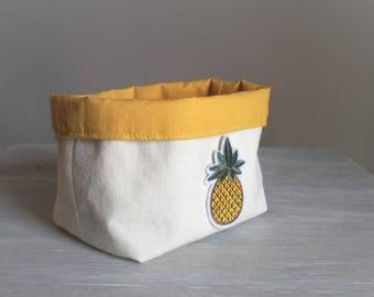 Vintage mustard storage basket. Pineapple patch. 1 piece.