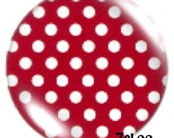 1 cabochon 30mm glass, Garnet polka dots