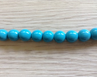 Painted wood beads 10 x 10 mm turquoise color beads