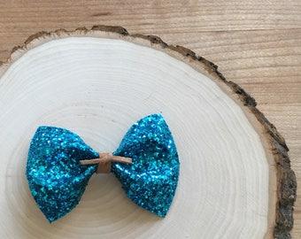 Bright Blue Glitter Bow