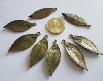 lot de 8 connecteur feuille en métal couleur bronze  35 x 13mm