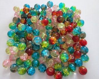 mix 40 Perles bicolore craquelé en verre 8 mm