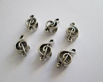 6 Perles clé de sol en métal argenté 18 x 9 mm trou 5 mm