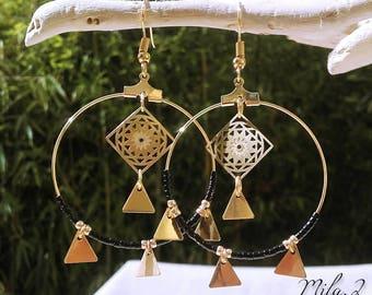 Black miyuki gold hoop earring