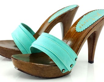 Turquose Clogs-Comfortable clogs-K21101 TIFFANY