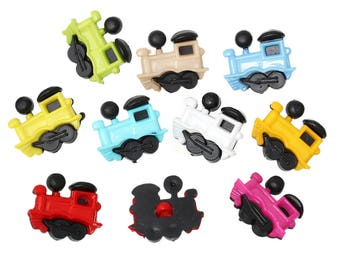 x 5 mixed buttons locomotives multicolored 3D plastic 21 x 19 mm