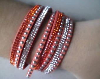 orange multi strand leather bracelet 1 x white/orange Crystal rhinestone + studs silver 40 cm