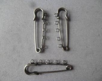x 3 pins brooch 5 holes color bronze 5 x 1.5 cm