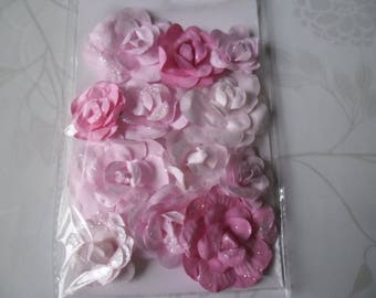 x 12 mixed flower shaped pink paper rose tone glitter