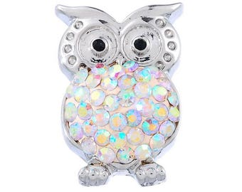 x 1 snap (for jewelry) owls white AB rhinestones in metal silver 23 x 16 mm