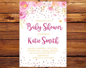 Flower Baby Shower Invitation,Baby Shower Invitation,Baby Girl Shower Invitation