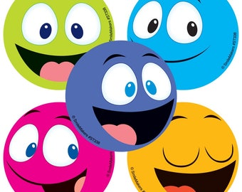 """20 Happy Faces Stickers, 2.5"""" x 2.5"""" Each"""