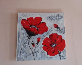 Red poppies painted by hand