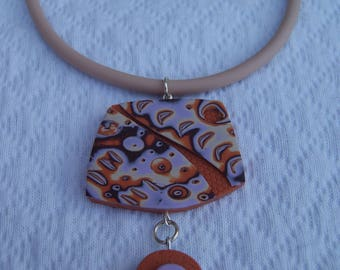Collier ras de cou en fimo orange mauve