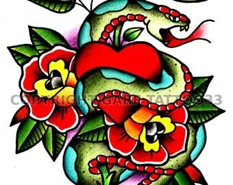 Traditional snake tattoo art