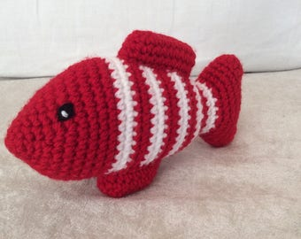 Made entirely crochet striped goldfish