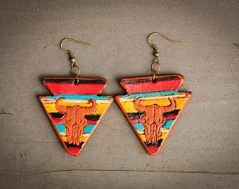 Arrowhead Skull Serape Earrings | Leather Earrings | Birthday Gift | Anniversary | Gifts under 25 | Handmade | Gifts for Her