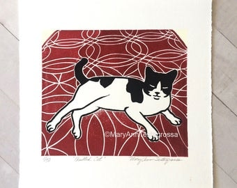Cat Print, Tuxedo Cat Print, Cat Art Print, Tuxedo Cat Art Print, Cat Linocut Print, Cat Lino Cut Print