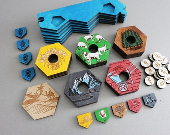 Settlers of Catan Board | 3-4 Players. Handmade. Custom, Wood, Laser Cut. Board Game Pieces. Gift for gamer. In stock.