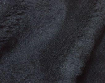 Fabric black faux fur short hair - sold by the metre