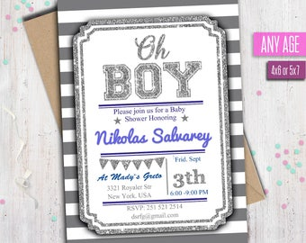 OH BOY Invitation, Baby shower Invitation, Boy baby shower, Oh Boy Party Invite, glitter, Any age.