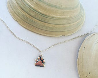 Beautiful .925 Sterling Silver Paw Print Necklace