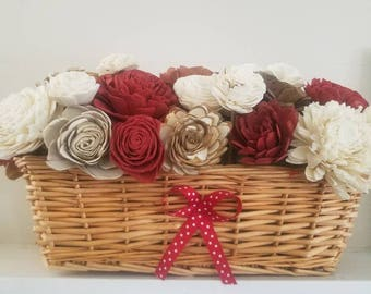 Valentines day centerpiece-red white and brown- valentines day decor- sola wood flower centerpiece