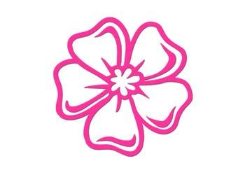 Neon pink flower 7 cm in flex fusible openwork pattern