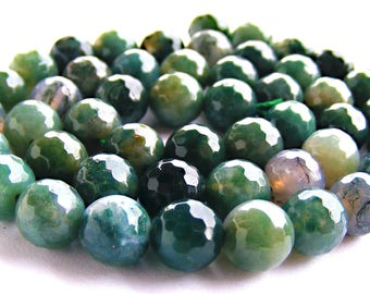 8 agates mousse à facette de 8 mm perles pierres verte mousse.