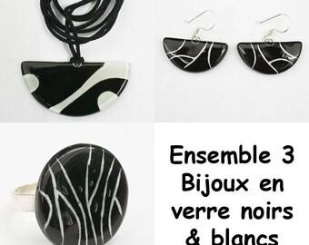 Matching black and white glass jewelry set