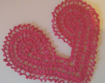 "Crochet red doily  ""hot heart"", Valentine's Day gift, Gift for Her, Handmade heart, Knitted stand for wine glasses,Festive table decoration"
