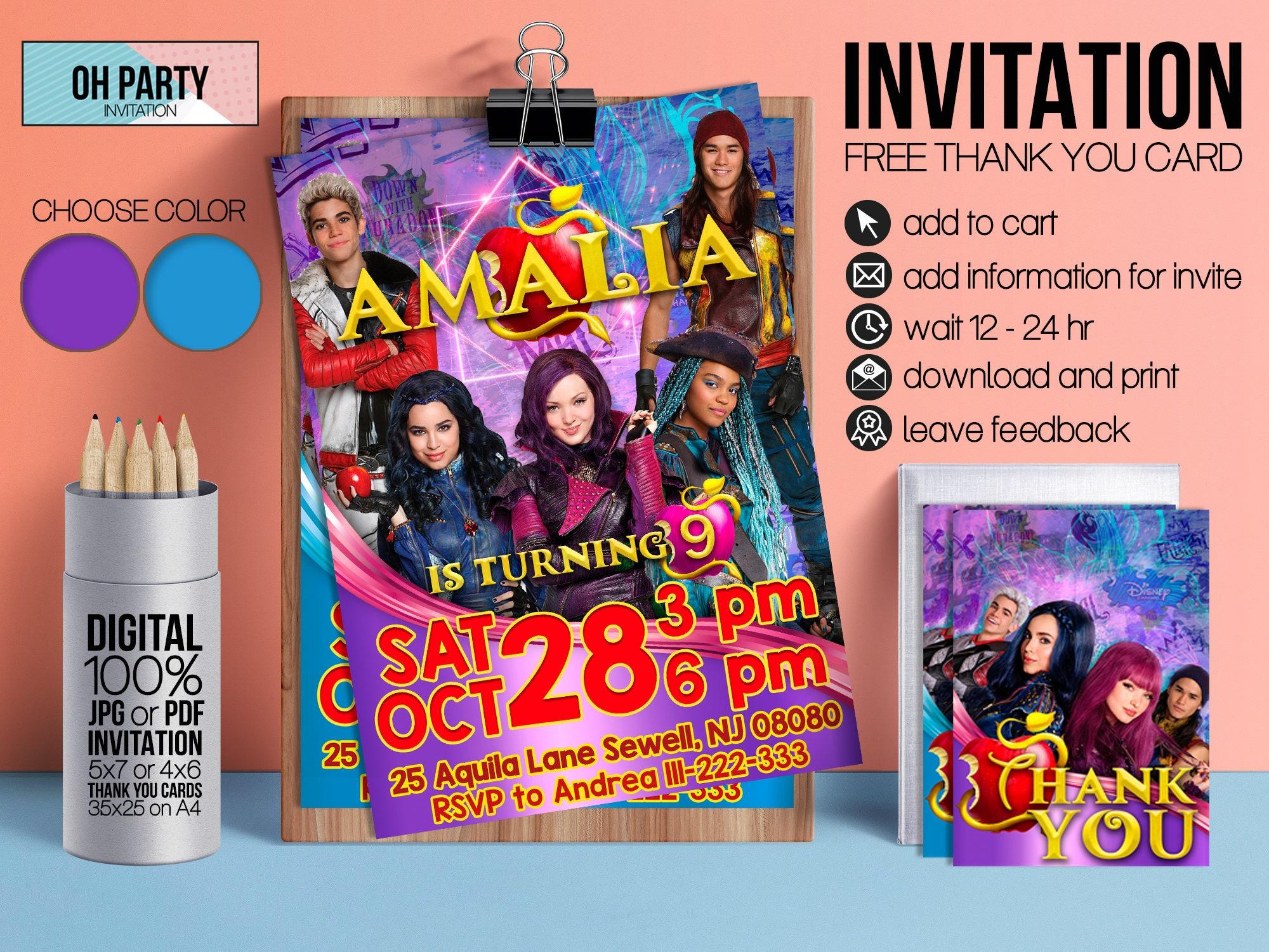 Descendants 2 Invitation. Descendants Printable Descendants Invite.  Descendants Party Invitation. Descendants Birthday.