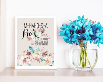 Mimosa Bar Sign Boho Mimosa Bar Printable Sign Floral Feather Mimosa Sign Bubbly Bar Sign Bridal Shower Wedding Reception Table Sign Digital