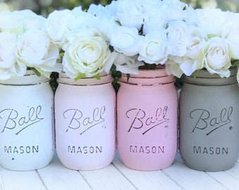White, pink, greige painted Mason jars. Wedding, shower, anniversary, baby, teen girl, desk, shelf, mantle, shabby, office, kitchen, gift.