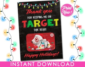Target Gift Card Holder INSTANT DOWNLOAD, Christmas Gift Card Holder PRINTABLE, Teacher Appreciation Gift Ideas Xmas Nurse Tags Last Minute