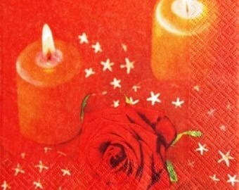 TOWEL in paper 2 candles and #DI006 red rose