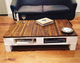 Hand Made Coffe Pallet Table Antique White Base And Walnut Stained Top