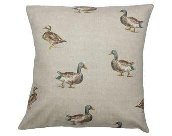 Mallard Duck Countryside Animal Print Cushion Cover