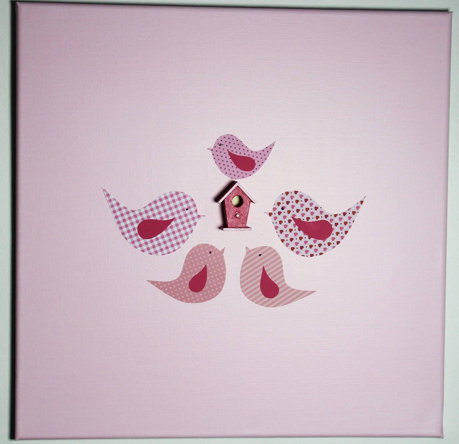 Tableau Toile OISEAUX Rose 40 x 40 cm Cadeau de naissance