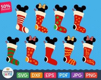 Christmas Socks with Minnie Mouse Svg Santa Socks Svg Files Mickey Mouse Ears Christmas Disney Designs Vinyl Clip art Silhouette, Cricut Svg